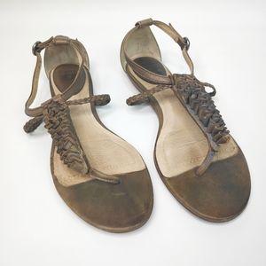 Frye Laurel Flower Taupe Leather Strappy Sandal 9M